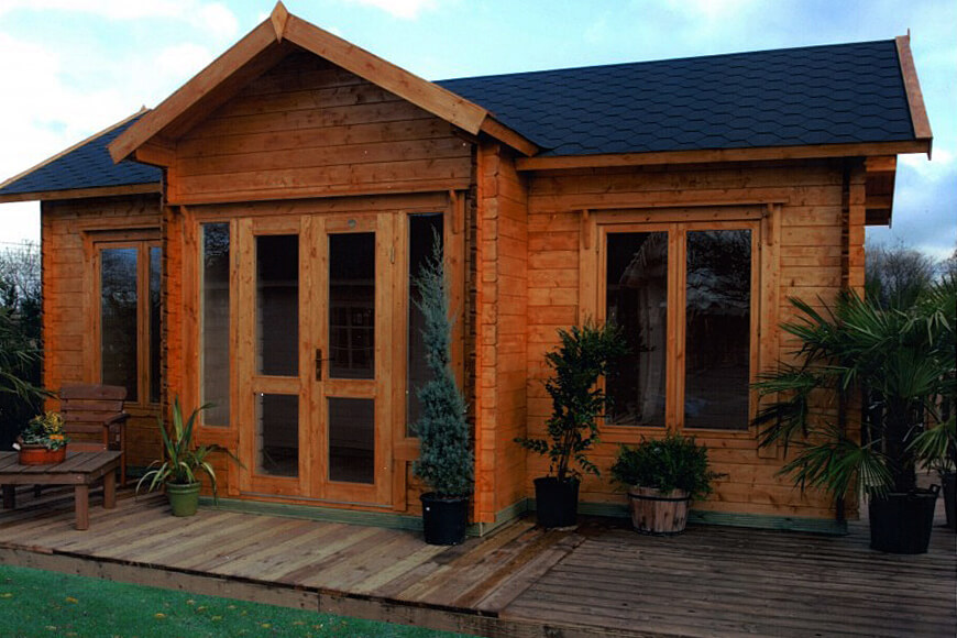 garden shed with katepal roofing tiles