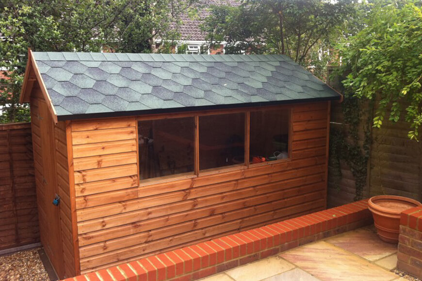 garden shed with katepal roof tiles